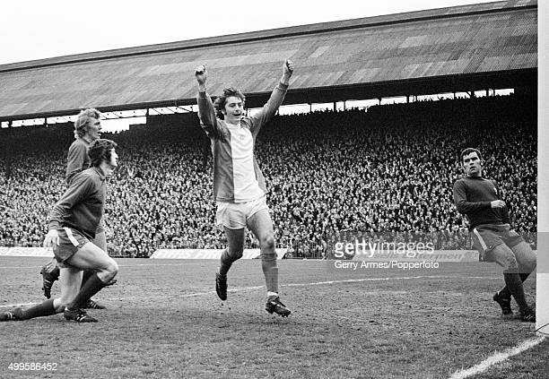 Trevor Francis celebrates after scoring for Birmingham City during their First Division match against Middlesbrough at St Andrews in Birmingham 22nd...