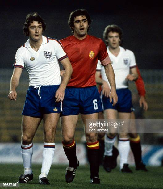 Trevor Francis of England marked by Agustin Guisasola of Spain during the Spain v England Friendly International match played at the Nou Camp Stadium...