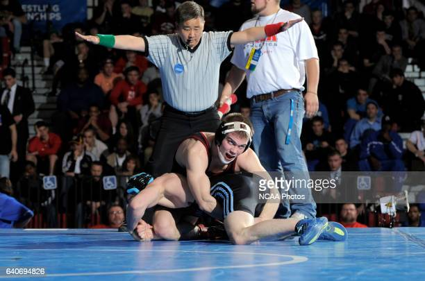 Trevor Franklin from Upper Iowa University wrestles Andrew Pokorny from St Could State University during the Division II Men's Wrestling Championship...