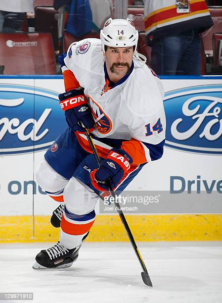 Trevor Gillies of the New York Islanders skates prior to the game against the Florida Panthers on October 22 2011 at the BankAtlantic Center in...