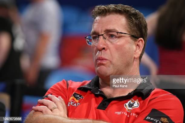 Trevor Gleeson coach of the Wildcats looks on after being defeated during the round 13 NBL match between the Perth Wildcats and the Cairns Taipans at...