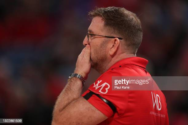 Trevor Gleeson, coach of the Wildcats looks on during game one of the NBL Semi-Final Series between the Perth Wildcats and the Illawarra Hawks at RAC...