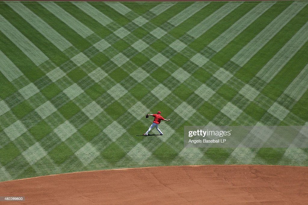 Trevor Gott #62 of the Los Angeles Angels of Anaheim warms up before the game against the Texas Rangers at Angel Stadium of Anaheim on July 26, 2015 in Anaheim, California.