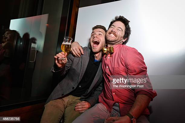 Trevor Grove and Will Kunke take Buzzfeed's gif booth for a spin at the company's WHCD party cohosted by Facebook