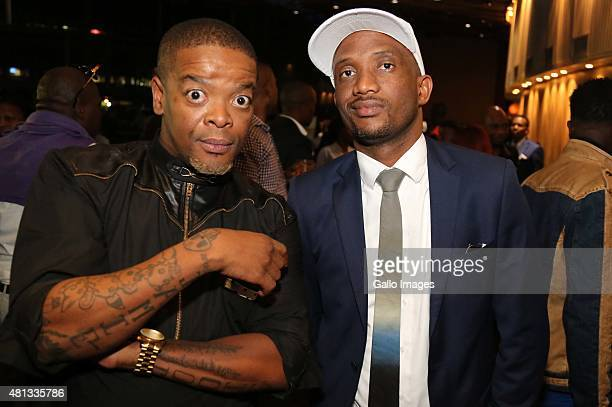Trevor Gumbi and David Kau seen at the VIP Cocktail function at the 2015 MTV Africa Music Awards on July 182015 at the Durban International...