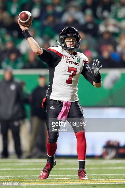 Trevor Harris of the Ottawa Redblacks throws a pass in the game between the Ottawa Redblacks and Saskatchewan Roughriders at Mosaic Stadium on...