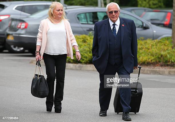 Trevor Hicks and his former wife Jenni Hicks arrive at the Hillsborough Inquest at the specially adapted office building in Birchwood Park on June 16...