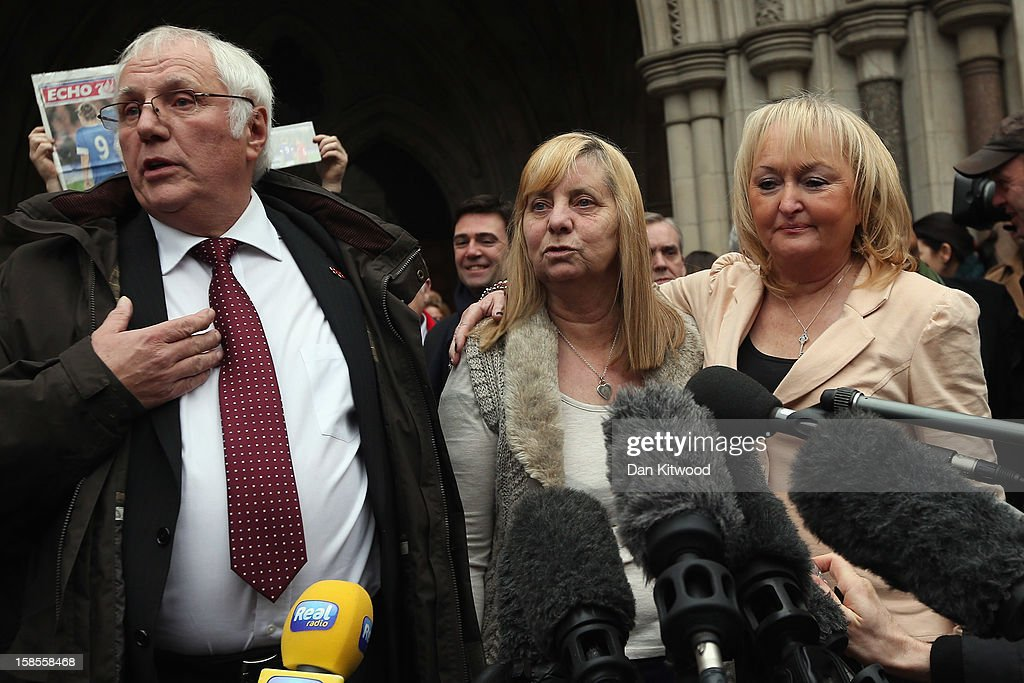 Trevor Hicks of the Hillsborough Family Support Group and his former wife Jenni Hicks (R), who lost their two teenage daughters Sarah and Victoria in the Hillsborough disaster, join Margaret Aspinall, who lost her son James, outside the High Court on December 19, 2012 in London, England. An application presented by the Attorney General, Dominic Grieve to Lord Chief Justice, Lord Judge has resulted in the quashing of the original accidental death verdict and an order for fresh inquests. The Hillsborough disaster occurred during the FA Cup semi-final tie between Liverpool and Nottingham Forest football clubs in April 1989 at the Hillsborough Stadium in Sheffield, which resulted in the deaths of 96 football fans.