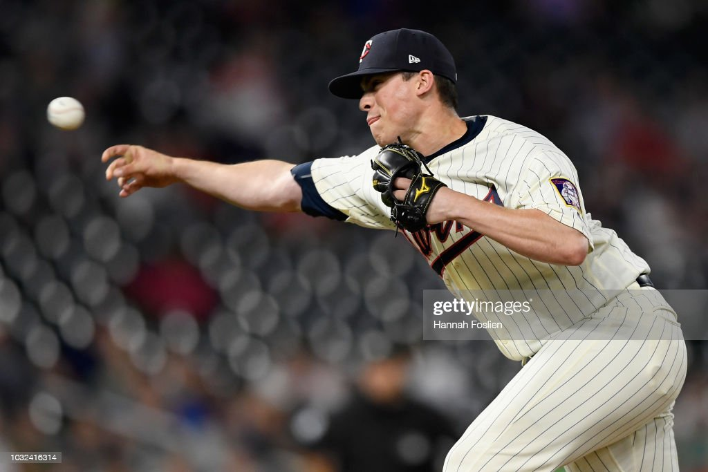 Trevor Hildenberger #39 of the Minnesota Twins delivers a pitch against the New York Yankees during the ninth inning of the game on September 12, 2018 at Target Field in Minneapolis, Minnesota. The Twins defeated the Yankees 3-1.