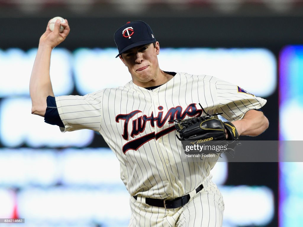Trevor Hildenberger #39 of the Minnesota Twins delivers a pitch against the Cleveland Indians during the seventh inning in game two of a doubleheader on August 17, 2017 at Target Field in Minneapolis, Minnesota. The Twins defeated the Indians 4-2.
