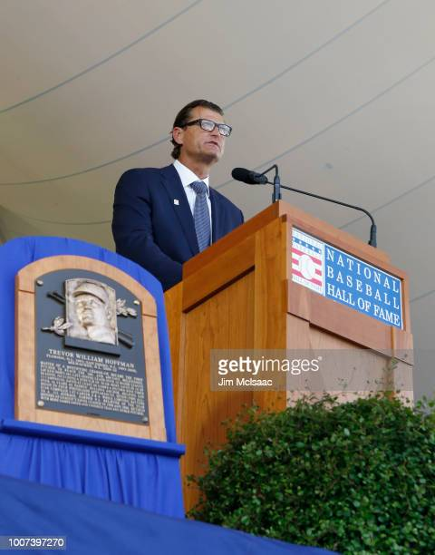 Trevor Hoffman gives his induction speech at Clark Sports Center during the Baseball Hall of Fame induction ceremony on July 29 2018 in Cooperstown...