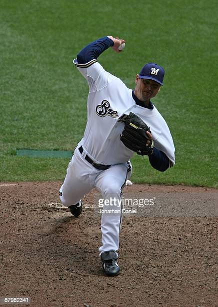 Trevor Hoffman of the Milwaukee Brewers delivers the ball against the Florida Marlins on May 14 2009 at Miller Park in Milwaukee Wisconsin The...