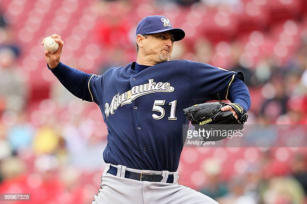 Trevor Hoffman of the Milwaukee Brewers throws a pitch in the 9th inning during the game against the Cincinnati Reds at Great American Ball Park on...