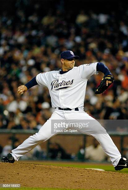 Trevor Hoffman of the San Diego Padres and the National League AllStars pitches against the American League All Stars during the MLB AllStar Game...