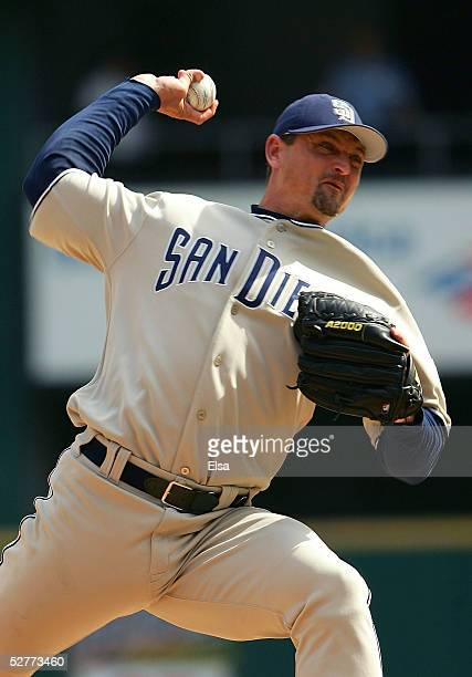 Trevor Hoffman of the San Diego Padres delivers a pitch against the St Louis Cardinals on May 7 2005 at Busch Stadium in St Louis Missouri The Padres...