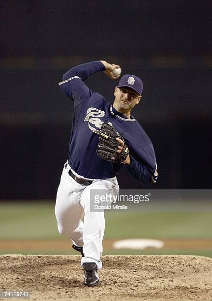 Trevor Hoffman of the San Diego Padres delivers the pitch against the Washington Nationals on May 1 2007 at Petco Park in San Diego California