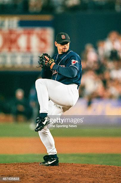 Trevor Hoffman of the San Diego Padres during Game Three of the World Series against the New York Yankees on October 20 1998 at Qualcomm Stadium in...