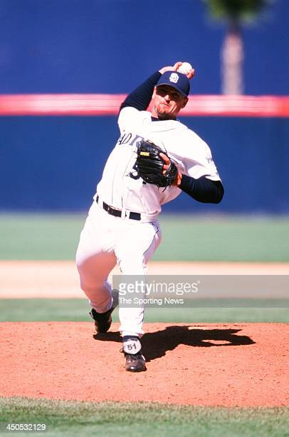 Trevor Hoffman of the San Diego Padres during the game against the Montreal Expos at Qualcomm Stadium on May 28 2000 in San Diego California