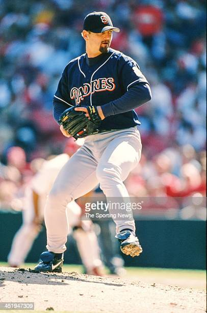 Trevor Hoffman of the San Diego Padres during the game against the St. Louis Cardinals on April 5, 1998 at Busch Stadium in St. Louis, Missouri.