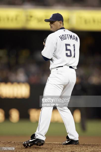 Trevor Hoffman of the San Diego Padres lines up the pitch against the Colorado Rockies during their MLB game at Petco Park in San Diego, California.