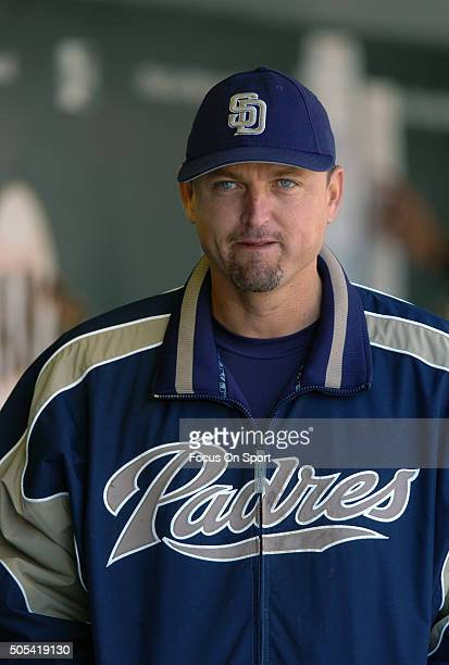 Trevor Hoffman of the San Diego Padres looks on from the dugout against the San Francisco Giants during an Major League Baseball game May 28 2005 at...
