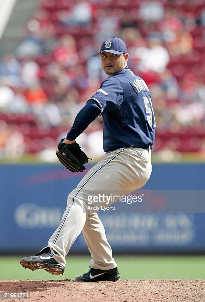 Trevor Hoffman of the San Diego Padres pitches against the Cincinnati Reds at Great American Ball Park September 14 2006 in Cincinnati Ohio The...