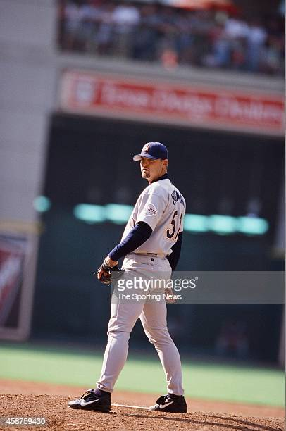 Trevor Hoffman of the San Diego Padres pitches against the Houston Astros on April 23 2000 in San Diego California
