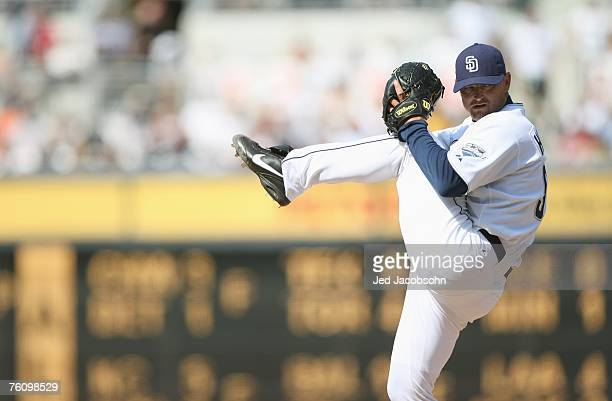 Trevor Hoffman of the San Diego Padres pitches against the San Francisco Giants during a MLB game at Petco Park on August 5, 2007 in San Diego,...