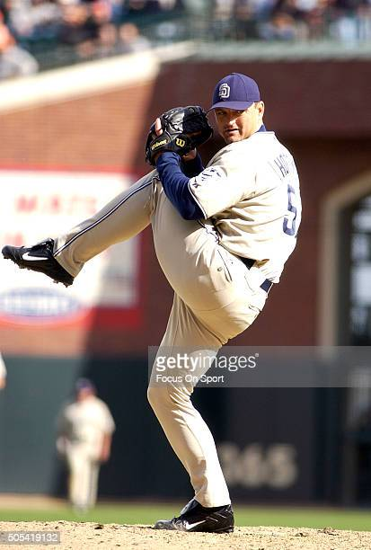 Trevor Hoffman of the San Diego Padres pitches against the San Francisco Giants during an Major League Baseball game September 18 2004 at ATT Park in...