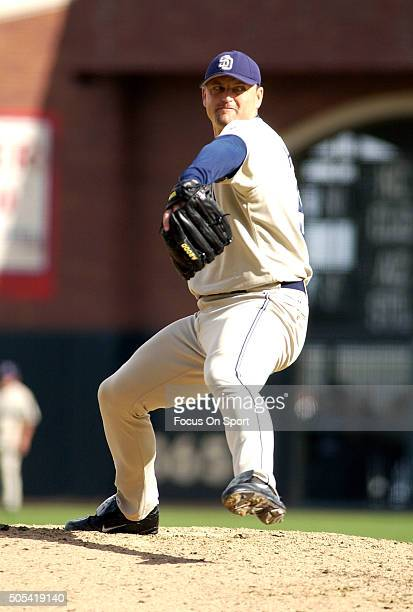 Trevor Hoffman of the San Diego Padres pitches against the San Francisco Giants during an Major League Baseball game September 18, 2004 at AT&T Park...