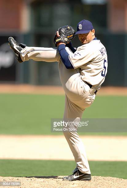 Trevor Hoffman of the San Diego Padres pitches against the San Francisco Giants during an Major League Baseball game May 28 2005 at ATT Park in San...