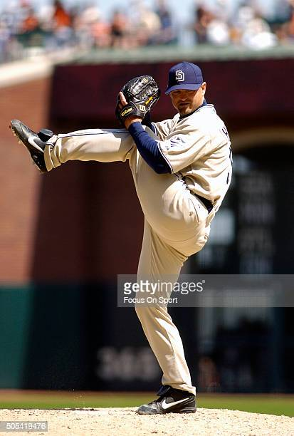 Trevor Hoffman of the San Diego Padres pitches against the San Francisco Giants during an Major League Baseball game May 2 2006 at ATT Park in San...