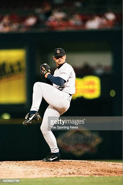 Trevor Hoffman of the San Diego Padres pitches against the St. Louis Cardinals at Busch Stadium on July 16, 1997 in St. Louis, Missouri. The Padres...