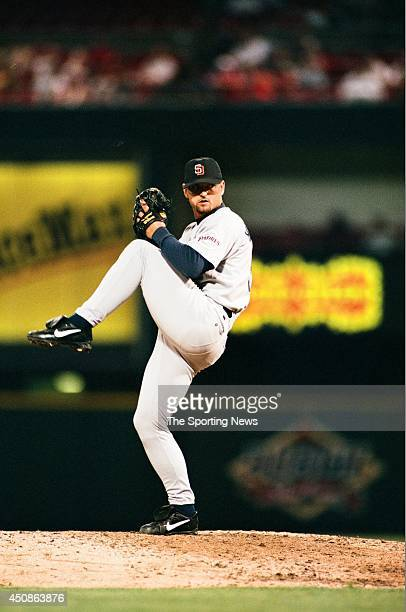 Trevor Hoffman of the San Diego Padres pitches against the St Louis Cardinals at Busch Stadium on July 16 1997 in St Louis Missouri The Padres...