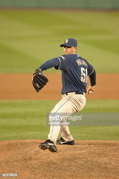 Trevor Hoffman of the San Diego Padres pitches during a baseball game against the Washington Nationals on September 19 2008 at Nationals Park in...