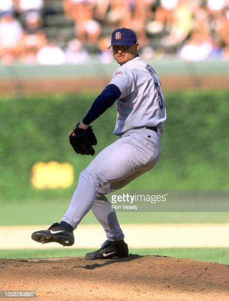 Trevor Hoffman of the San Diego Padres pitches during an MLB game at Wrigley Field in Chicago, Illinois. Hoffman played for 18 years with 3 different...