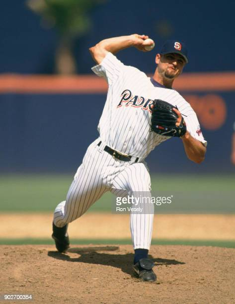 Trevor Hoffman of the San Diego Padres pitches during an MLB game at Jack Murphy Stadium in San Diego California during the 1992 season