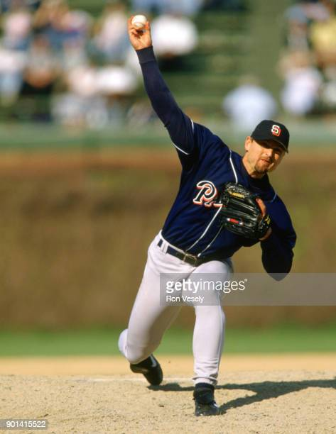Trevor Hoffman of the San Diego Padres pitches during an MLB game against the Chicago Cubs at Wrigley Field in Chicago, Illinois during the 1992...