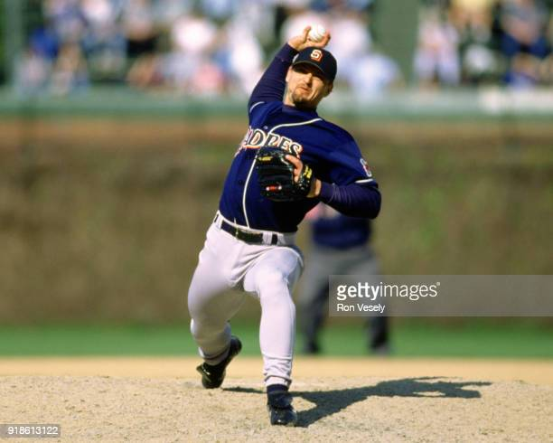 Trevor Hoffman of the San Diego Padres pitches during an MLB game versus the Chicago Cubs at Wrigley Field in Chicago, Illinois during the 1992...