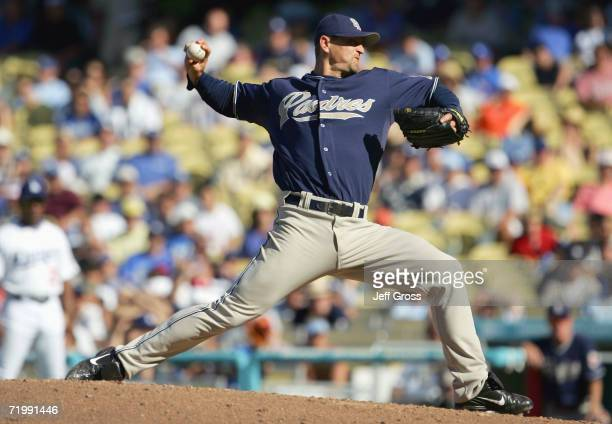 Trevor Hoffman of the San Diego Padres pitches during the game against the Los Angeles Dodgers at Dodger Stadium during the game on September 17 2006...