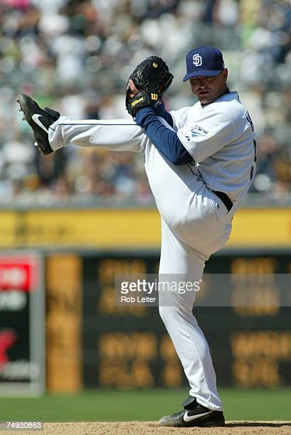 Trevor Hoffman of the San Diego Padres pitches during the game against the Milwaukee Brewers at Petco Park in San Diego California on May 27 2007 The...