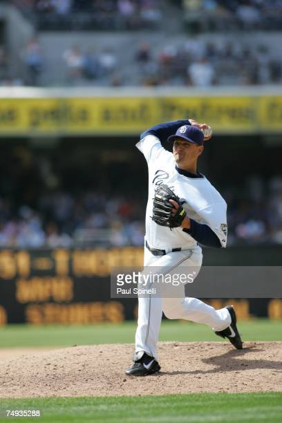 Trevor Hoffman of the San Diego Padres pitches during the game against the Seattle Mariners at Petco Park in San Diego California on June 10 2007 The...