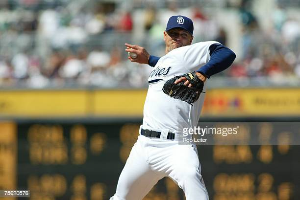 Trevor Hoffman of the San Diego Padres pitches during the game against the Boston Red Sox at Petco Park in San Diego, California on June 24, 2007....