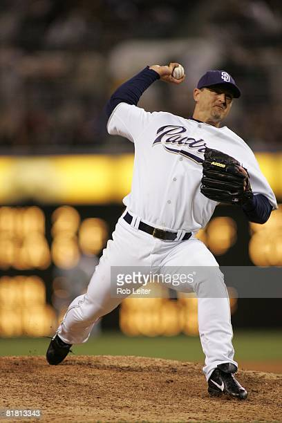 Trevor Hoffman of the San Diego Padres pitches during the game against the Los Angeles Dodgers at Petco Park in San Diego California on June 11 2008...