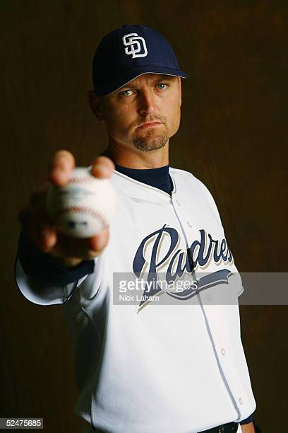 Trevor Hoffman of the San Diego Padres poses for a portrait during the San Diego Padres Photo Day at Peoria Stadium on February 26, 2005 in Peoria,...