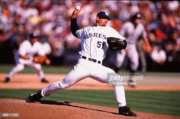 Trevor Hoffman of the the San Diego Padres pitches against the New York Yankees on June 23 2002 at Qualcomm Stadium in San Diego California The...