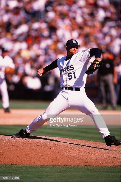 Trevor Hoffman of the the San Diego Padres pitches against the New York Yankees on June 23, 2002 at Qualcomm Stadium in San Diego, California. The...