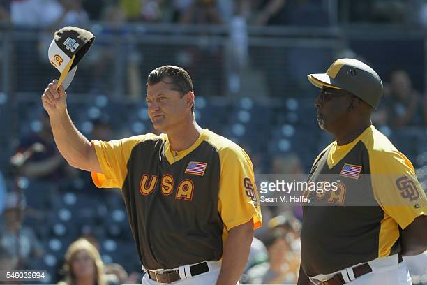 Trevor Hoffman of the U.S. Team waves to the crowd during introductions before the SiriusXM All-Star Futures Game at PETCO Park on July 10, 2016 in...
