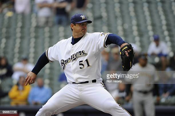 Trevor Hoffman the Milwaukee Brewers pitches against the Pittsburgh Pirates on April 28, 2010 at Miller Park in Milwaukee, Wisconsin. The Pirates...