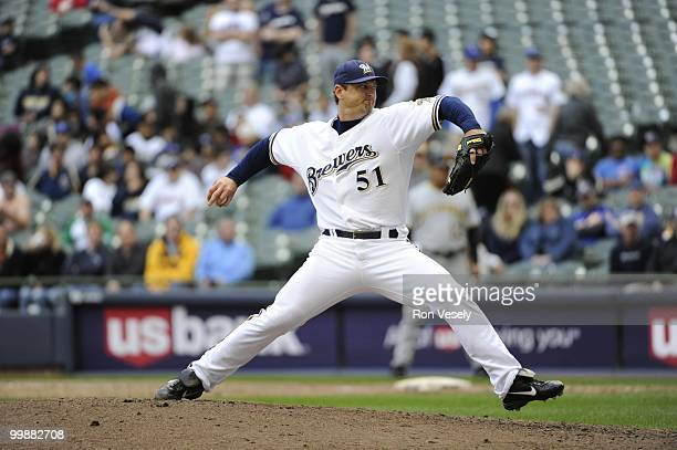 Trevor Hoffman the Milwaukee Brewers pitches against the Pittsburgh Pirates on April 28 2010 at Miller Park in Milwaukee Wisconsin The Pirates...